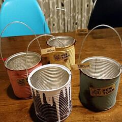 ミルクペイント/リメ缶 学校のバザーで売るリメ缶たち。