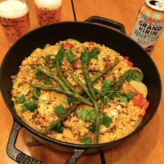 煮込み料理/チキン/鶏肉/staub/ストウブ/フォロー大歓迎/... ストウブ料理! 昨夜は鶏肉、ひよこ豆、玉…