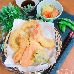天ぷら/おうちごはん 昼に天ぷら(*´꒳`*)おつまみ風❤︎ …