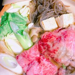 すき焼き/おうちごはん/フード/グルメ おうちごはん(*´꒳`*) 1人鍋ですき…