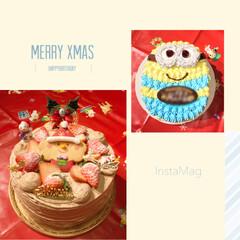 チョコシフォン/ミニオン/クリスマスケーキ/バースデーケーキ/#クリスマス/クリスマス/... クリスマスイブは娘のお誕生日〜🎉  なの…