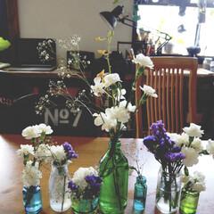 花/ガラスペイント/リメイク/リメ瓶/カフェ風インテリア/アイデア投稿もしています/... 主人の祖父が亡くなりまして、 その関係諸…
