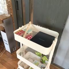 ワゴン/パイプ棚/除菌ジェル/IKEA/収納/雑貨/... 先日アップしたパイプ棚には、 こんな感じ…