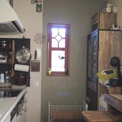 インテリア/北陸アルミニウム 卵焼き器/ビタクラフト フライパン/掛ける収納/キッチン/リミアな暮らし/... DIYで手を加えたキッチンです。 フライ…(1枚目)