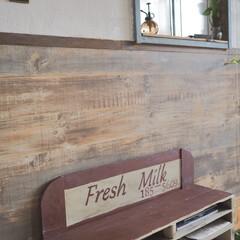 おうち時間/パレットDIY/ベンチDIY/漆喰/腰壁/古民家カフェ風/... 玄関も少しだけ模様替え♪ カフェの入り口…