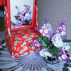 和紙工芸/姫鏡台/フォロー大歓迎/ハンドメイド 和紙工芸の「姫鏡台」です。 作ってからだ…