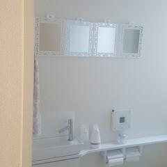 広く見せる/広く見せるコツ/トイレ/狭い空間/錯覚/ホワイト/... トイレを広く見せたくて ダイソーの一枚2…