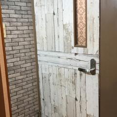 リメイクシート/ドア/トイレ/団地DIY/DIY/100均/... トイレのドアをリメイクシートでイメチェン