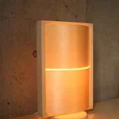 北欧インテリア/DIY/木製照明/間接照明/ウッドランプ/経木/... WAVE(M)  W232×D150×H…