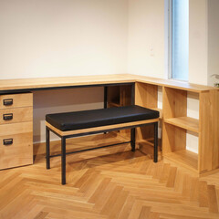 オーダー家具/無垢/学習机/勉強机/書斎/ワークデスク お子様のためにオーダーメイドの学習机を製…