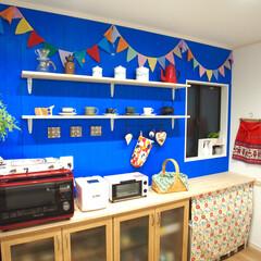 キッチン背面/カウンター棚/収納/北欧インテリア/キッチン キッチンの背面にフローリング用の木材を貼…