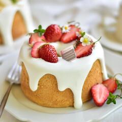 ケーキ/シフォンケーキ/おうちカフェ/おやつ/うちカフェ/いちご 小ぶりなシフォンケーキならひとりで食べち…
