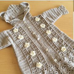 子育て/育児/手編み/編み物/秋/手芸/... 1歳の娘のために編んだ秋冬用ロングコート…
