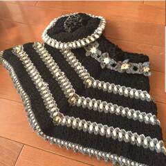 子育て/育児/編み物/手編み/手芸/ハンドメイド 子供用ポンチョ&帽子を編みました。 子供…