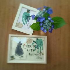 手形アート/父の日/100均/ハンドメイド 旦那のお父さんと父ちゃんに父の日 長男の…