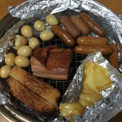 cooking/おつまみ 始めての燻製♪ TV📺のレシピを参考に『…
