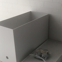 ポリプロピレンファイルボックス・スタンダードタイプ・ワイド・A4用ホワイトグレー 約幅15×奥行32×高さ24cm | 無印良品(その他オフィス収納)を使ったクチコミ「ダイソンのハンデの収納付き充電スタンドに…」(2枚目)