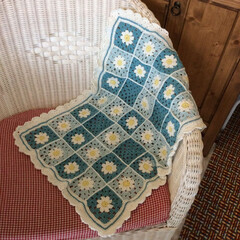 お花モチーフ/モチーフ編み/かぎ針/かぎ針編み/ブランケット/編み物/... ブランケット完成しました(๑´ڡ`๑) …