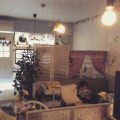 マンションインテリア/マンション/ラブリコ/DIY小窓/モンチッチ/リビング/... キッチンから見たリビング(*☻-☻*)