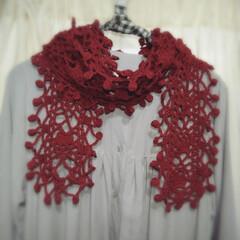毛糸ピエロさん/カギ針編み/編み物/ストール/雑貨/ハンドメイド 日焼け対策に編みました(*´-`)