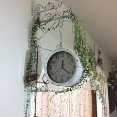 両面時計/グリーン/DIY/100均/セリア/ダイソー/... 100均の時計を2個使って両面時計を作り…