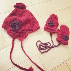 編み物 昨年秋に作った娘のニット帽と手袋。 成長…