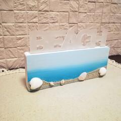 貝殻/砂浜/海/イルミ/LED/アクリル/... セリアの夏小物でビーチイルミネーションを…