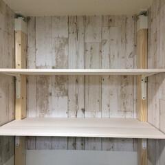 2×4/洗濯機置き場/ランドリー/DIY/セリア 洗濯機置き場の大空間。 2×4で棚設置。…