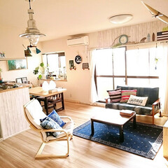 リメイク/西海岸風/サーファーズハウス/ビーチハウス/デニムリメイク/IKEA/... 築25年の中古マンション。床か焦げ茶で暗…