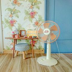 ボタニカルインテリア/扇風機リメイク/扇風機/salut!/100均/セリア/... 夏と言えば扇風機☺︎ 可愛くない普通の扇…
