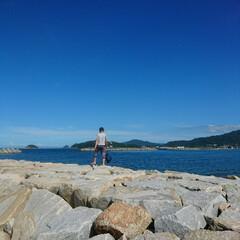 暑い日に/夏休み/カモメ/海辺/はじめてフォト投稿/おでかけ/... 加工なしです(^-^) 綺麗な青空~✨✨…