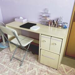 シリコンスプレー/水性ペンキ/ピンクの部屋/ライラック/女子力UP/壁ペイント/... お年頃になった娘からメイク机を作って欲し…(1枚目)