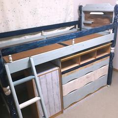 寝室/子供部屋/ベッド/二段ベッド/ロフトベッド/リメイク/... 二段ベッドをロフトベッドに改造。 タンス…