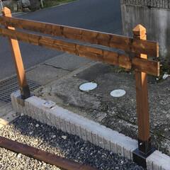 簡単フェンス/手作り/庭/フェンス/柵/リフォーム/... 外構DIY♪ブロックの上に柵をDIY。1…