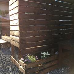 日除け/手作り/柵/フェンス/目隠しフェンス/ウッドデッキ/... 外構DIY♪ウッドデッキに柵をDIY♪ …
