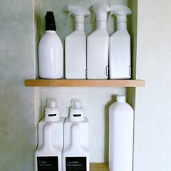 詰め替えボトル/洗剤/無印/ニッチ/ランドリー収納/ランドリールーム/... 洗面所の洗濯機の真横にニッチを作ってもら…