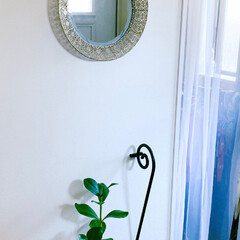 インテリア/玄関インテリア/玄関/鏡/観葉植物のある暮らし/観葉植物/... 我が家の玄関インテリア。 自粛中に家でも…