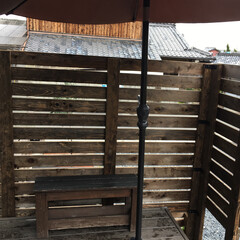 目隠しフェンス/庭/プランターフェンス/フェンス/柵/ウッドデッキ/... 外構DIY♪ウッドデッキに柵をDIY♪ …