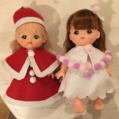 子供/簡単手作り/サンタ服/フェルト/縫わないドレス/人形のお洋服/...