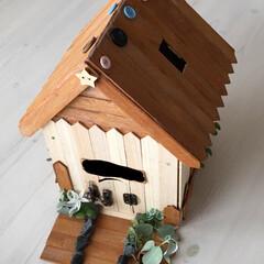 シルバニアファミリー/ドールハウス/木のおうち/おうち貯金箱/簡単貯金箱/貯金箱アイデア/... 100均材料で木の貯金箱のおうちの作り方…