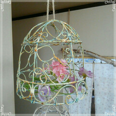 鳥かご/アルミ製/雑貨/100均/アンティーク/花/... アルミのワイヤーで鳥かご作成しました。鳥…