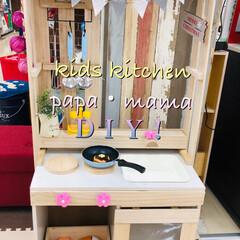 カラーBOX/すのこ/キッズキッチン/島忠ホームズ小平店/DIY/100均/... パパ、ママママ DIY! クリスマスプレ…