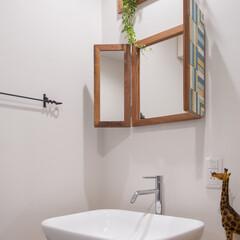 リノベーション/可愛い洗面台/こだわりの/洗面台 大き目のシンクを取り入れた造作洗面台