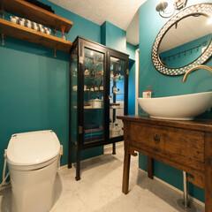 アンティーク/洗面台/リノベーション 台は奥様お手持ちのアンティーク家具を加工…