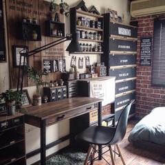 DIY/男前/手作り家具/リメイクシート/100均/ウォールステッカー/... 手作り家具で男前に