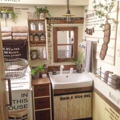 DIY/洗面所/壁紙/板壁/ウォールステッカー/ステンシル/... 気持ち悪かった洗面所を居心地のいい空間に