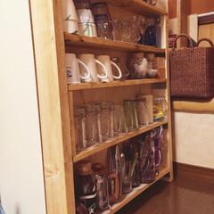 棚/DIY/収納/リノベーション/生活雑貨/キッチン ベニア丸見えの引き出し収納の裏に棚を作っ…