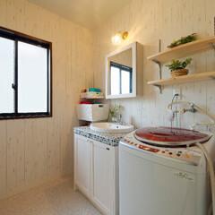 無垢の木/無垢材/洗面台/洗面化粧台/洗面所リフォーム/水まわり/... 無垢の木の洗面台を取り付けて、ナチュラル…