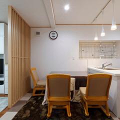 シンク/家事効率/対面キッチン/ダイニング/リフォーム/間取り/... シンクのすぐそばにダイニングテーブルがあ…