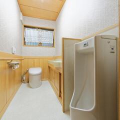 トイレリフォーム/トイレ内装/トイレ交換/トイレ取り替え 内装を一新し、洋式トイレと男性用便器、手…